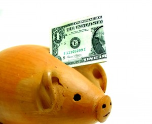 piggy bank with dollar